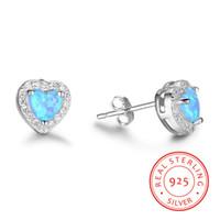 boucles d'oreille opale bleue achat en gros de-Nouvelle arrivée réelle 925 argent sterling Design Simple Coeur bleu opale de feu pierre boucles d'oreilles femmes Bijoux Mignon Boucle D'oreille