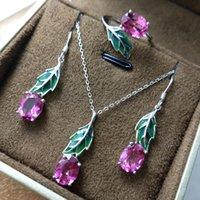 ingrosso set di gioielli in topazio rosa-FLZB, Fine Jewelry set Luxury Natural Pink Topazio Gemstone ov 7 * 9mm in argento sterling 925, pendente collana / orecchino / anello set