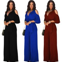 Wholesale Wide Leg Pants Trousers Jumpsuits - fashion off shoulderless short sleeve belt Women's Jumpsuits Wide leg pants plus size summer spring autumn new loose rompers trousers