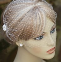 Wholesale birdcage veils resale online - White pearl wedding veil bridal birdcage veil cathedral wedding veil wedding accessories