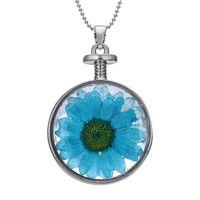 ingrosso blocco di cuore blu-Il regalo speciale dei monili della catena della collana del pendente del pendente della collana del pendente del cuore del fiore del cuore del fiore dell'argento di modo blu libera il trasporto