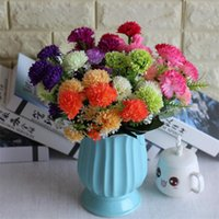Wholesale artificial coral flowers for wedding resale online - Fake Coral Dandelion Bunch stems piece Simulation Carnation for Wedding Home Showcase Decorative Artificial Flower