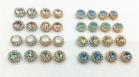 Wholesale Color Stone Earrings - MIXED COLORS ROUND EARRING STUD WITH SWAROVSKI ELEMENTS STONE IN MIXED PLATING COLOR TONES ON WHOLESALE