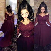 Wholesale Shoulder Caps - 2018 Off The Shoulder Two Pieces Long Sleeves Lace High Low Prom Dresses Beaded Satin A Line Formal Party Evening Dresses In Burgundy