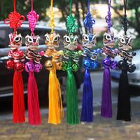 çan dansı toptan satış-Çan ile dans Çin Düğüm aslan dans asılı araba accessorise el yapımı dokuma zanaat Çin özel hediye yaratıcı kolye