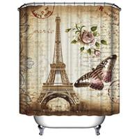 cortina de chuveiro de torre venda por atacado-Nova Torre Eiffel Borboleta Carimbo Postal Cortina de Chuveiro Impermeável Mildewproof Tecido de Poliéster 12 Ganchos 71 Polegada