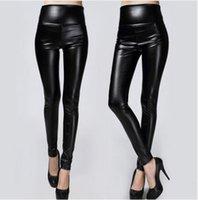 ingrosso pantaloni in spandex in pelle-2017 nuovo inverno ghette ispessite pantaloni skinny donne pantaloni caldi in pelle nera pantaloni alti della vita di alta qualità di grandi dimensioni