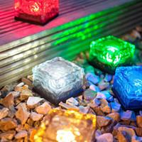 ingrosso luci di gelato-Solar Energy Ice Cream Brick Light Sepolto LED Square Outdoor Garden Lampada da notte decorativa Colorful Autogeno bagliore notturno New 20wn Y