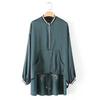 Wholesale Dovetail Shirts - Women Embroidery Blouse Satin Shirt Loose Oversize Back Sequins Asymmetric dovetail hem Top Long Sleeve Blusa Autumn Winter New