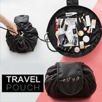 Wholesale Travel Bags Korea - Portable cosmetic bag travel drawstring storage bags big capacity travel pouch women sundries lazy bag korea fashion DHT301