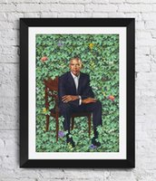 Wholesale portraits paintings resale online - Barack Obama Kehinde Wiley Art Works The Obama Portraits Wall Decor Pictures Art Print Home Decor Poster Canvas Unframe Inches