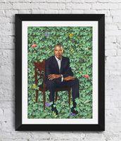 портретные картины оптовых-Барак Обама Кехинд Уайли Произведения Искусства Портреты Обамы Стены Декор Фотографии Искусство Печати Home Decor Плакат Холст Unframe 16 24 36 47 Дюймов