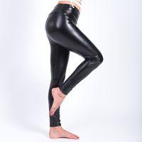 Wholesale warm leggins - 2017 Winter Warm Leggings Thickening Black Leather Leggings High Waist Pants Leggings Casual Warm Solid Faux Leather Leggins