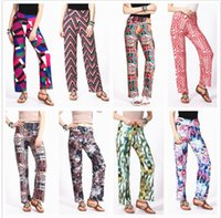 Wholesale Baggy Women Pants Wholesale - Wide Leg Pants High Waist Bloomers Women Print Flare Pants Fashion Casual Capris Baggy Trousers Fashion Harem Pants KKA3996