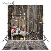 Wholesale canvas scenic paintings - NewBack Full Size Vinyl Cloth Wood Snow Christmas Party Photographic background Vintage holiday Photo backdrops customized B1085