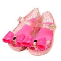 melissa pvc bow al por mayor-Elegante chica melissa sandalias zapatos de dibujos animados sólido arco zapatos de caramelo para 1-5 años niñas niños niños moda princesa zapatos