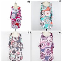 Wholesale asymmetrical dress flared skirt resale online - Floral Bandage Half Sleeve Dress Colors Women Round Neck Loose Skirt Summer Girls Short Party Dress OOA5438