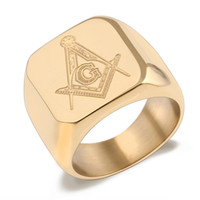 freemasons gifts 2018 - Fashion and domineering titanium steel men's rings Freemason lettering ring Steel or gold plated ornaments