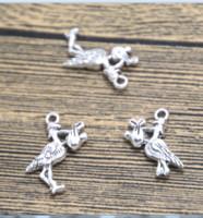 Wholesale crane pendants for sale - Group buy 20pcs crane Charms silver tone crane charm pendant X17mm