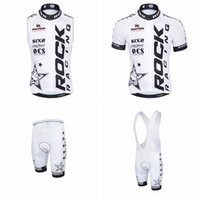 Wholesale cycling dry rock - ROCK RACING Cycling Short Sleeves jersey (bib) shorts Sleeveless Vest sets Breathable Quick Dry Riding sportswear outdoor A41230