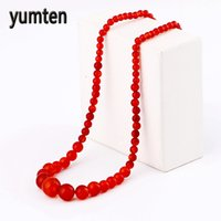 ingrosso round red beads-Perle di corniola di pietra naturale Collana di perle di calcedonio rosso agata rossa Collana di perle di agata rossa di cristallo