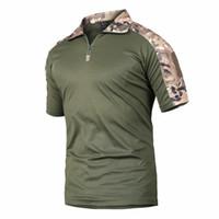 ingrosso rana del colletto-T-shirt da escursionismo traspirante da uomo Outdoor T-Shirt da trekking professionale Tops Tactical Collar Rane T Shirt Quick Dry Shirts