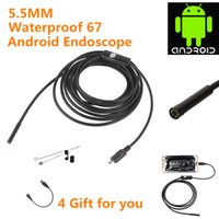 Wholesale endoscope borescope camera - 5.5mm 7.7MM Lens Android USB Endoscope Camera 1M 2M IP67 Waterproof Snake Pipe Gadget Inspection Android Phone OTG USB Borescope 6LED 2PCS