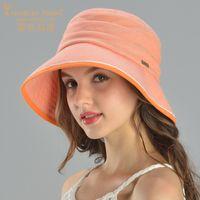 3a13c28f Charles Perra Sun Hats Female Spring Summer New Foldable Women Sunscreen  Bucket Hat Fashion Elegant Beach Lady Caps 8242