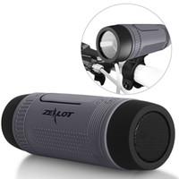 banco de energía de luz intermitente al por mayor-Zealot S1 altavoz portátil inalámbrico para exteriores Bluetooth inalámbrico para el hogar Subwoofer soporte de bicicleta altavoz con luz de flash de emergencia al aire libre banco de energía