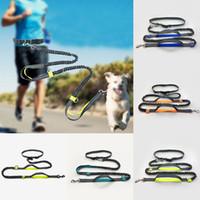 jogging leash venda por atacado-5Color Mãos Livres Da Cintura Do Cão Trela Com Duplo Bungees Dual-Handle Bungee Leash Com Cinto Ajustável Para Correr Jogging Andando WX9-684