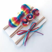 Wholesale Blank Accessories - New Nylon headband Summer Rainbow Hair bow for Baby girl with blank card Flowers Bunny knot hair accessories Wholesale cheap
