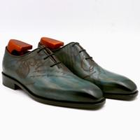tam tahıllı deri ayakkabılar toptan satış-Erkekler Elbise ayakkabı Oxfords ayakkabı Özel El Yapımı ayakkabı hakiki buzağı deri kare düz ayak tüm kesim patina tavuskuşu tam tahıl OX-001