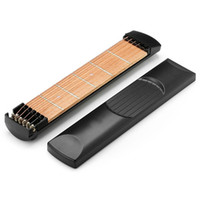 Wholesale guitar pocket - 6 Strings 6 Fret Portable Pockets Guitar Practice Tool Guitar Fingerboard Trainer for Musical Stringed Instruments Beginner