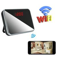 ingrosso sveglia della macchina fotografica attivata-1080P HD Alarm Clock WIFI Camera Mini Clock Camera Wireless Nanny Cam Motion Activated Indoor Camcorder Supporto APP Vista remoto