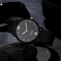 недорогие часы из нержавеющей стали оптовых-2017 Retro Design Mens Watches Top  Fuax Leather Analog Quartz Watches Nice Stainless Steel Wristwatch Mens