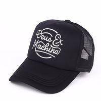 beyaz şapkalı şapka toptan satış-Deus Nakış Snapback Izgara Oyma Doruğa Kap Adam Ve Kadın Şapka Siyah Beyaz Basit Moda 9 5cj D1