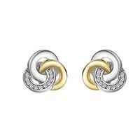 Wholesale 14k cz earrings - Genuine 925 Sterling Silver Earrings Interlinked Circles Dazzling CZ Geometric Stud Earrings for Women Fine Jewelry Valentine's Day gift