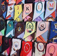 небольшие ленточные ленты оптовых-Letters Print Twill Silk Scarf Women  Designer Fashion Handbag Bow Ribbons Hair Headband Summer Female Small Head Scarves