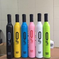 garrafa dobrada venda por atacado-Garrafa de vinho Guarda-chuva de Viagem Moda Garrafa De Vinho Dobrável Sol Chuva Umbrella À Prova de Vento Sombra de Sol Umbrella 41 projeto XL-G297