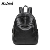 Wholesale bags for diapers resale online - Bolish brand Soft Waterproof PU Leather Women Female bagpack Larger Travel Backpacks for girls backpack diaper bag