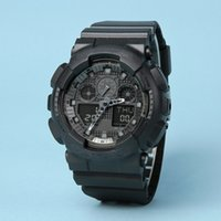 Wholesale waterproof drop boxes online - Drop shipping Top Quality Men Women Sports watch Ga100 Digital Watch Time Zone military watch autolight waterproof with box and tags