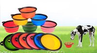 Wholesale Foldable Containers - New Collapsible foldable silicone dog bowl candy color outdoor travel portable puppy doogie food container feeder dish on sale