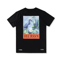 Wholesale crane ship - 18SS summer high-quality fashion tee HERON PRESTON oversize 3D crane print pattern loose men and women short-sleeved T-shirt free ship