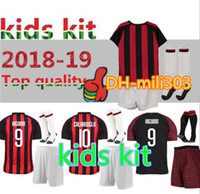 18 19 Milan kids kit HIGUAIN Soccer Jersey 2018 2019 CALHANOGLU ROMAGNOLI  CUTRONE SUSO child milano football Shirt Custom name uniform 1a3b9d2f5