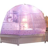 Wholesale folding yurt resale online - Pink Elegant Mongolian Yurt Mosquito Net Adults Bed Canopies Mosquitero Netting Mesh Cheap Folding Mosquito Net Berco Portatil