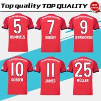 2019  25 MULLER home Soccer Jersey 18 19 home red Soccer Shirt Customized   11 JAMES  9 LEWANDOWSKI Bayern Munich Football uniform size S-4XL 635efdcdd