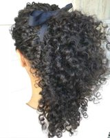Wholesale long hairpieces for women - human hair ponytail hairpieces clip in long high kinky curly human hair 120g drawstring ponytail hair extension for black women 4color