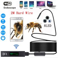 Wholesale borescope android - Wifi endoscope camera Android & IOS Endoscopio 1200p 8 LED 8mm Waterproof Inspection Borescope Tube Camera with 2M Hard wire