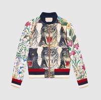 Wholesale Ladies Jumpers - New 2018 Italy Luxury Brand jacket long sleeve ladies jacket windbreaker jackets Tiger printing Female Short Coat Casual Loose jumper