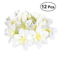 ingrosso fascia di seta del fiore diy-12pcs diy orchidea di seta artificiale teste di fiore per cappello vestiti album ghirlanda nuziale fasce abbellimento (bianco latte)